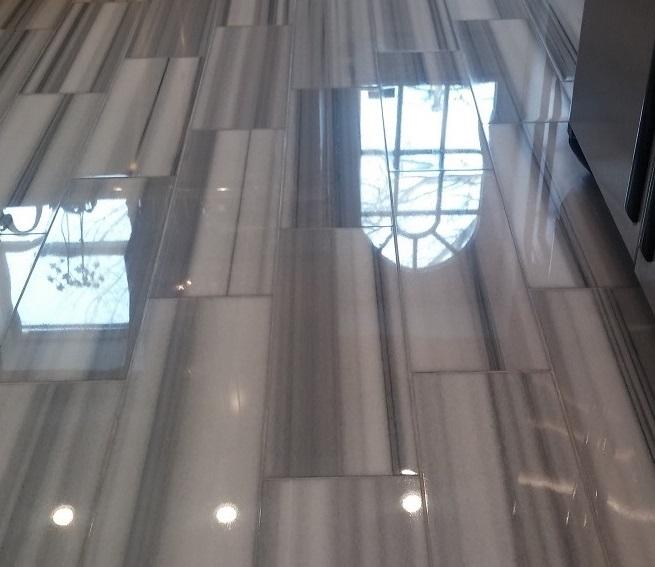 Gray and White Stripe Marble Floor Restoration
