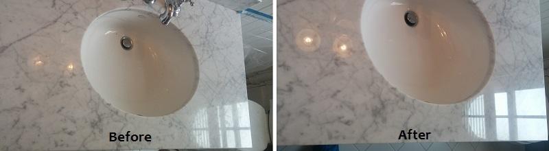 Carrara Marble Vanity Chip Repair and Restoration