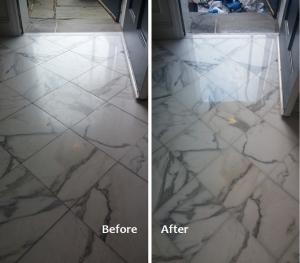 Dull, White Marble Floor Restoration