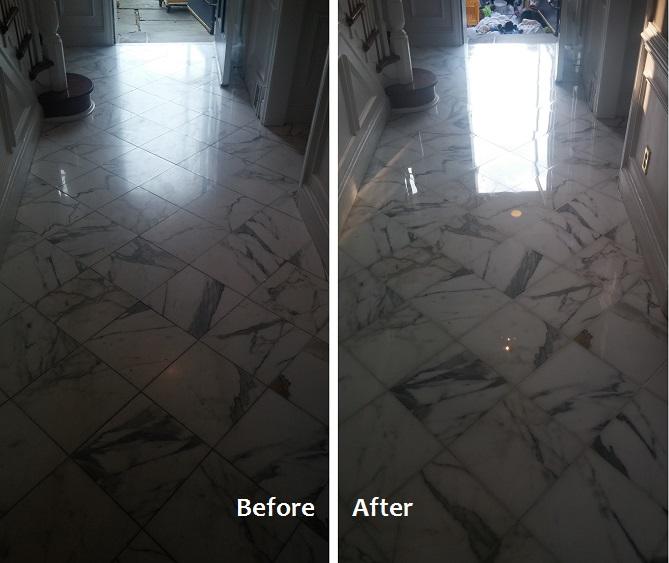 Restoration of Dull, White Marble Floor