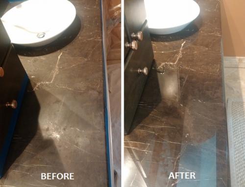 Restoration of a Dark Emperador Marble Double-Bowl Vanity